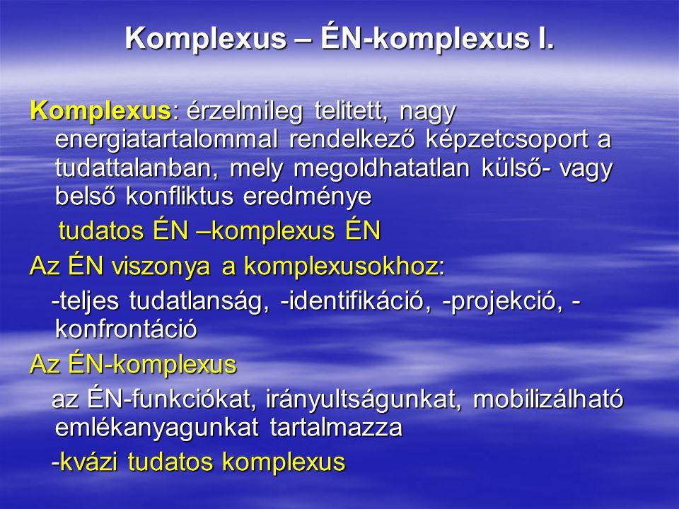 Komplexus – ÉN-komplexus I. Komplexus: érzelmileg telitett, nagy energiatartalommal rendelkező képzetcsoport a tudattalanban, mely megoldhatatlan küls