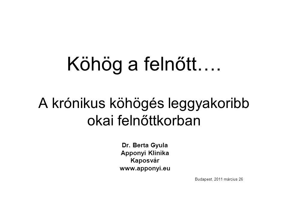 Köhög a felnőtt…. A krónikus köhögés leggyakoribb okai felnőttkorban Dr. Berta Gyula Apponyi Klinika Kaposvár www.apponyi.eu Budapest, 2011 március 26