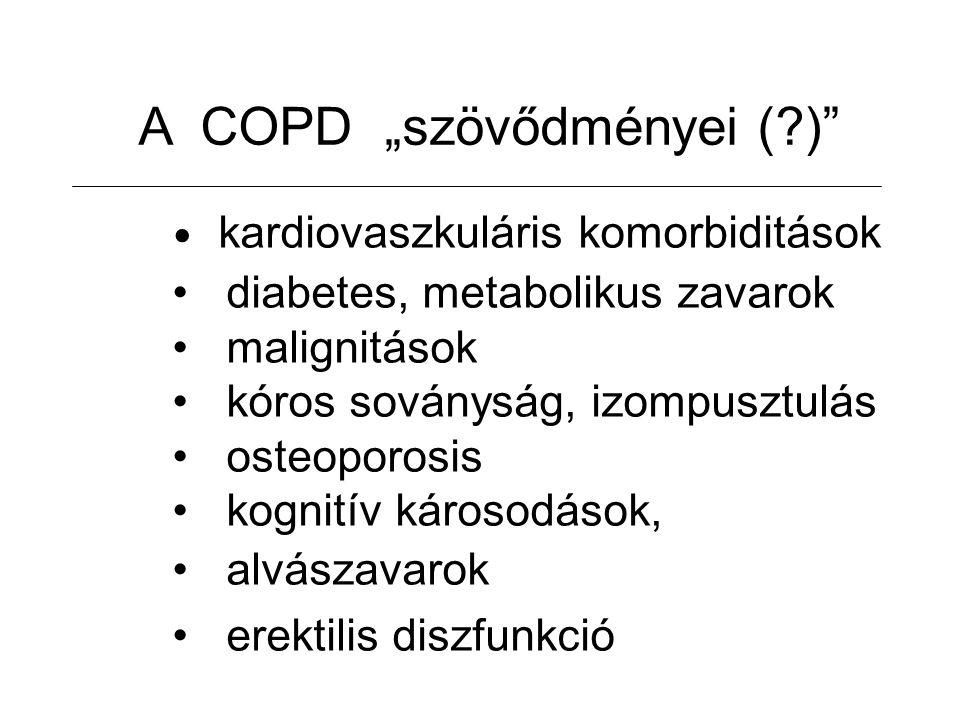 """A COPD """"szövődményei (?) kardiovaszkuláris komorbiditások diabetes, metabolikus zavarok malignitások kóros soványság, izompusztulás osteoporosis kognitív károsodások, alvászavarok erektilis diszfunkció"""