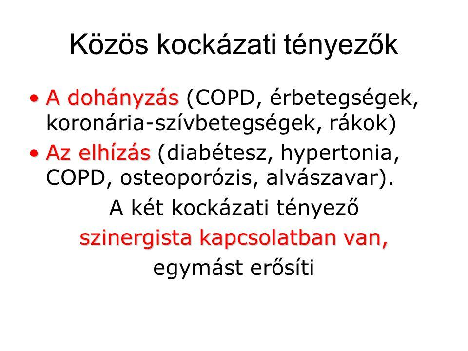 Közös kockázati tényezők A dohányzásA dohányzás (COPD, érbetegségek, koronária-szívbetegségek, rákok) Az elhízásAz elhízás (diabétesz, hypertonia, COPD, osteoporózis, alvászavar).