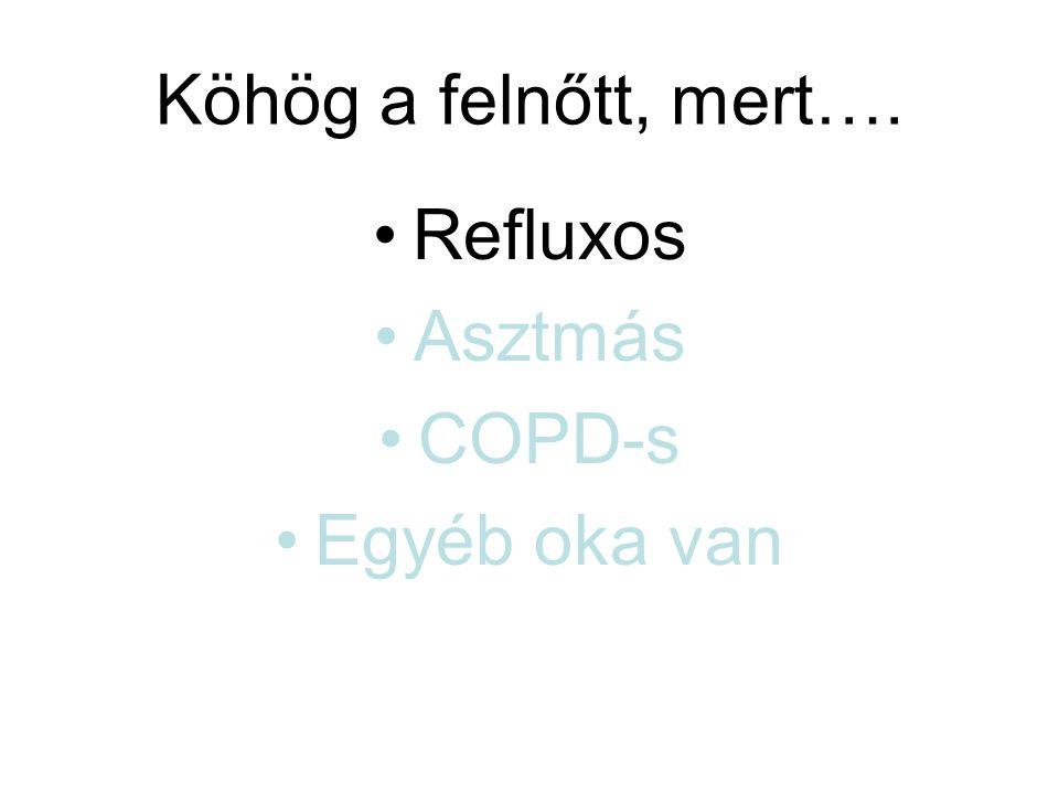 Köhög a felnőtt, mert…. Refluxos Asztmás COPD-s Egyéb oka van