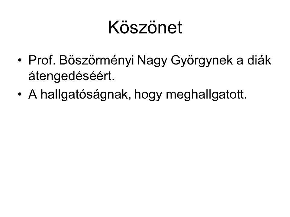 Köszönet Prof. Böszörményi Nagy Györgynek a diák átengedéséért. A hallgatóságnak, hogy meghallgatott.