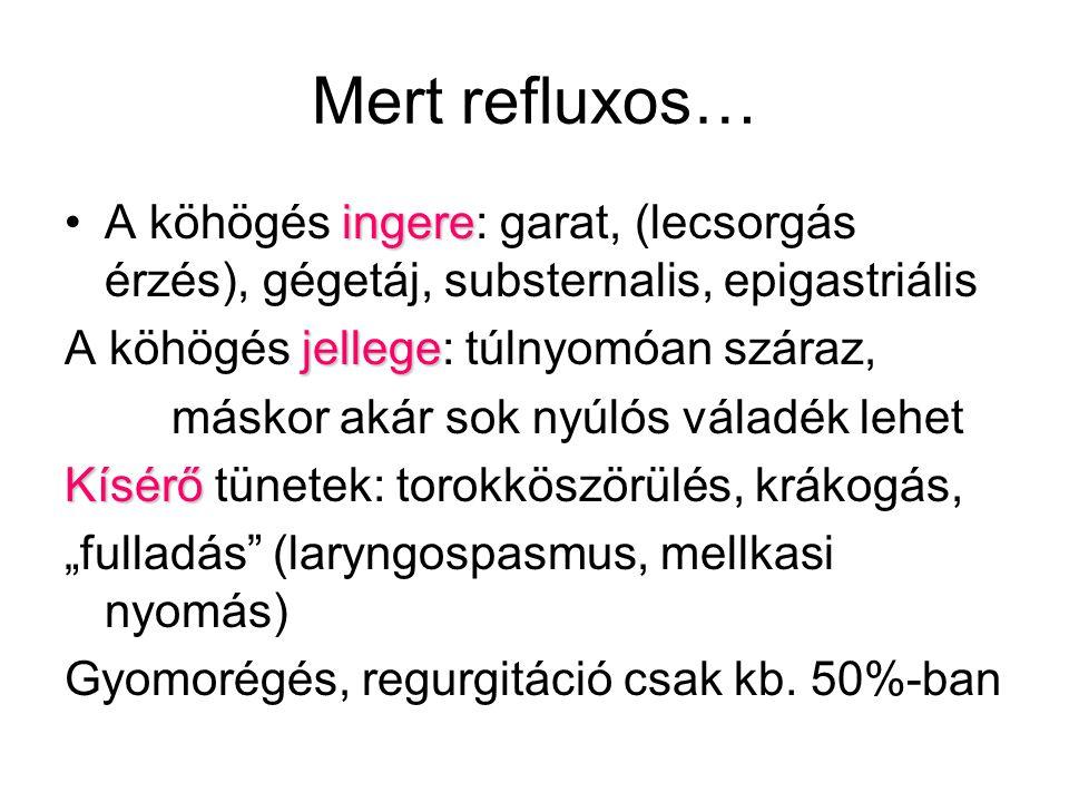 """Mert refluxos… ingereA köhögés ingere: garat, (lecsorgás érzés), gégetáj, substernalis, epigastriális jellege A köhögés jellege: túlnyomóan száraz, máskor akár sok nyúlós váladék lehet Kísérő Kísérő tünetek: torokköszörülés, krákogás, """"fulladás (laryngospasmus, mellkasi nyomás) Gyomorégés, regurgitáció csak kb."""