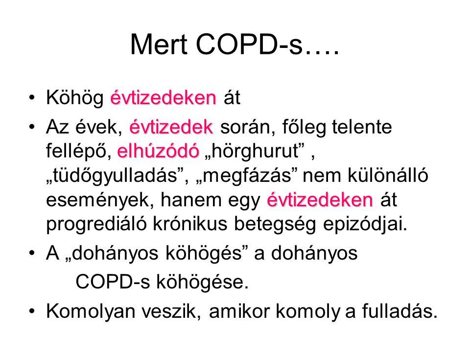 """Mert COPD-s…. évtizedekenKöhög évtizedeken át évtizedek elhúzódó évtizedekenAz évek, évtizedek során, főleg telente fellépő, elhúzódó """"hörghurut"""", """"tü"""