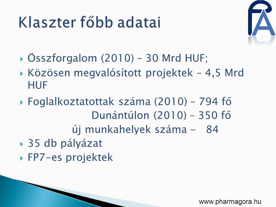  Összforgalom (2010) – 30 Mrd HUF;  Közösen megvalósított projektek – 4,5 Mrd HUF  Foglalkoztatottak száma (2010) – 794 fő Dunántúlon (2010) – 350 fő új munkahelyek száma - 84  35 db pályázat  FP7-es projektek www.pharmagora.hu