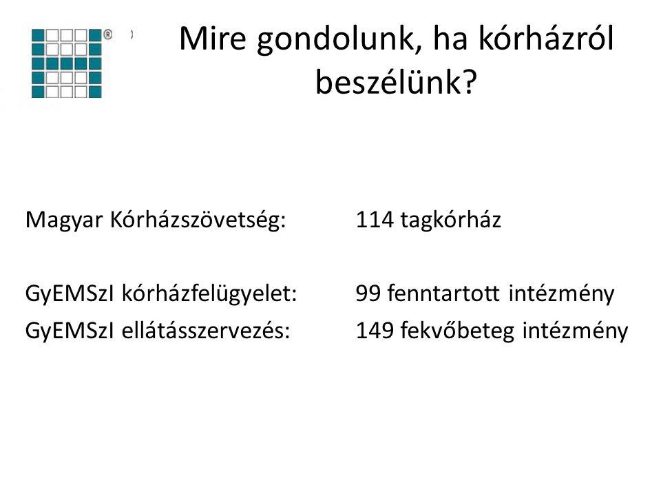 Mire gondolunk, ha kórházról beszélünk? Magyar Kórházszövetség: 114 tagkórház GyEMSzI kórházfelügyelet: 99 fenntartott intézmény GyEMSzI ellátásszerve