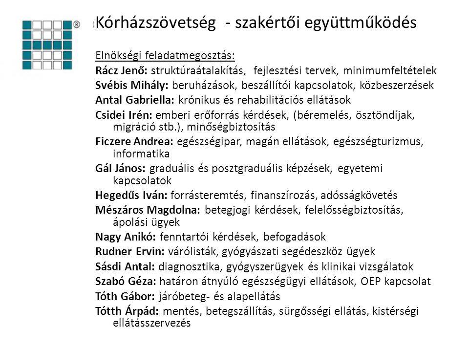 Kórházszövetség - szakértői együttműködés Elnökségi feladatmegosztás: Rácz Jenő: struktúraátalakítás, fejlesztési tervek, minimumfeltételek Svébis Mih