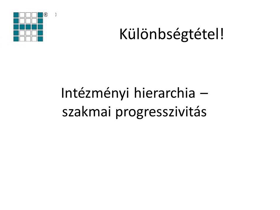 Intézményi hierarchia – szakmai progresszivitás Különbségtétel!