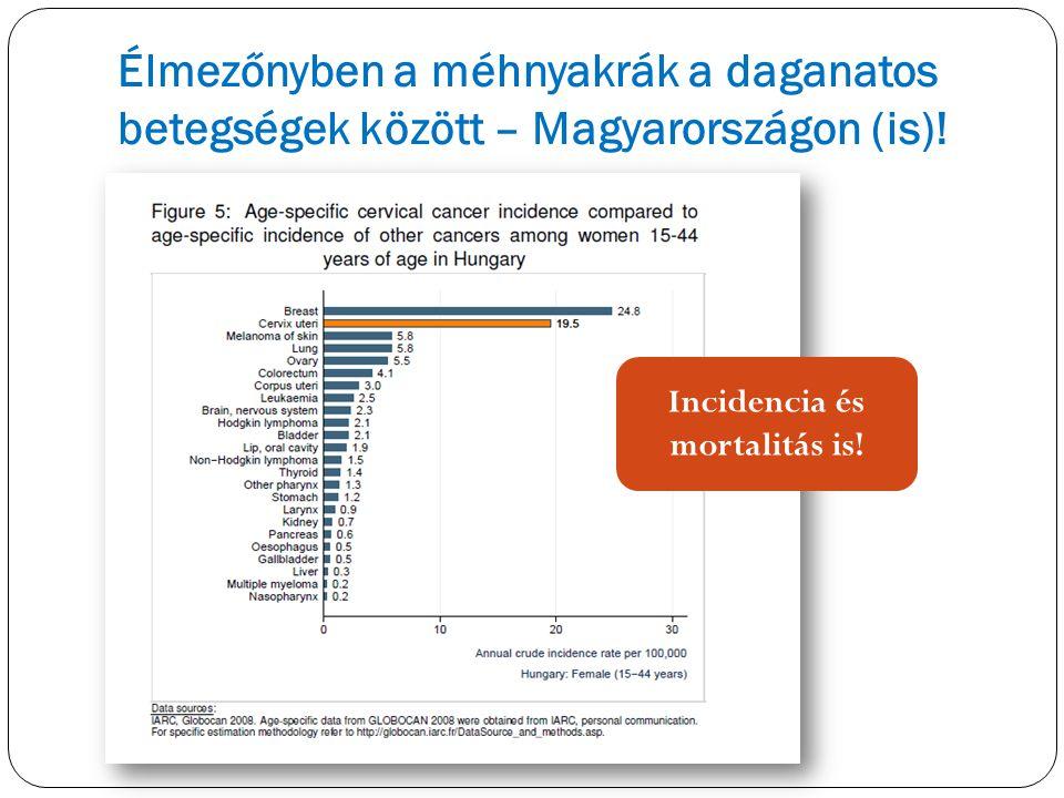 Élmezőnyben a méhnyakrák a daganatos betegségek között – Magyarországon (is)! Incidencia és mortalitás is!