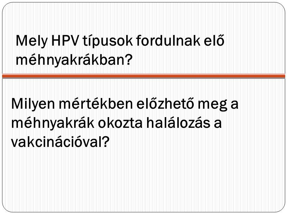 Mely HPV típusok fordulnak elő méhnyakrákban? Milyen mértékben előzhető meg a méhnyakrák okozta halálozás a vakcinációval?