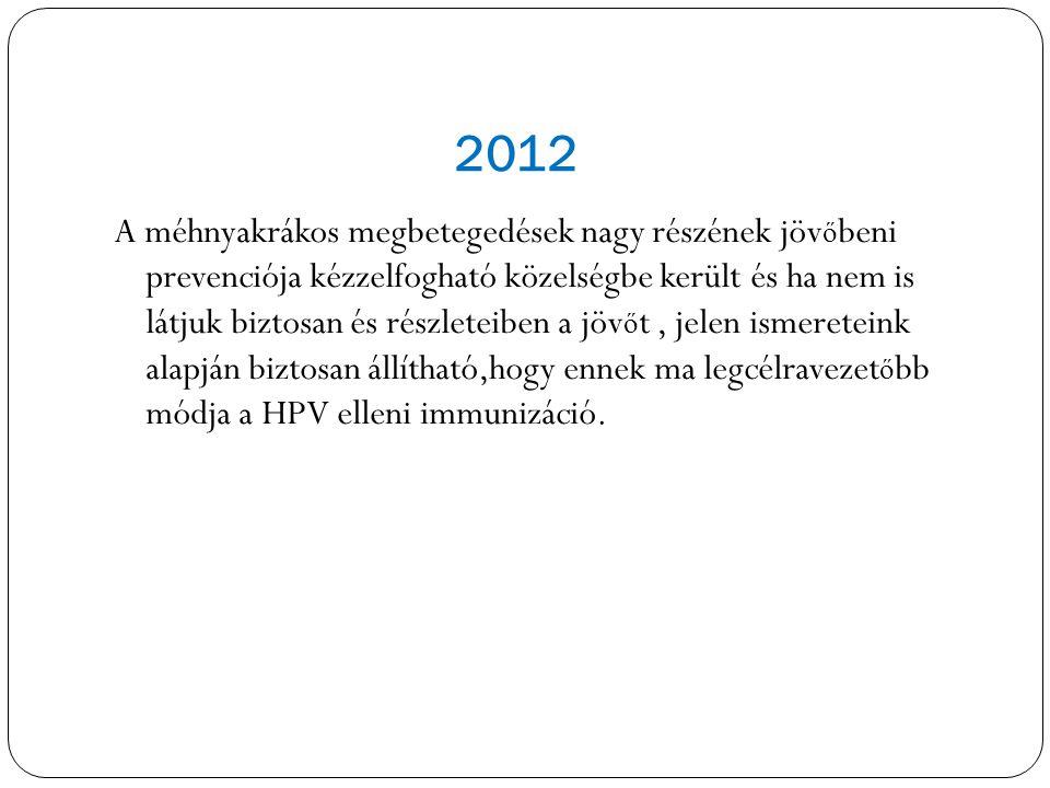 2012 A méhnyakrákos megbetegedések nagy részének jöv ő beni prevenciója kézzelfogható közelségbe került és ha nem is látjuk biztosan és részleteiben a