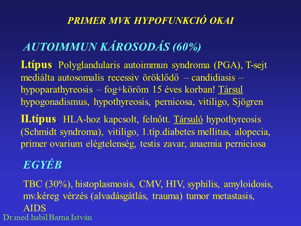 Dr.med.habil Barna István PRIMER MVK HYPOFUNKCIÓ OKAI I.típus. Polyglandularis autoimmun syndroma (PGA), T-sejt mediálta autosomalis recessiv öröklődő
