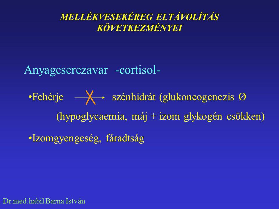 Dr.med.habil Barna István MELLÉKVESEKÉREG ELTÁVOLÍTÁS KÖVETKEZMÉNYEI Stressztűrő képesség csökken -cortisol- Fizikai (hideg, izom, vérzés) Kórokozók(szepszis)