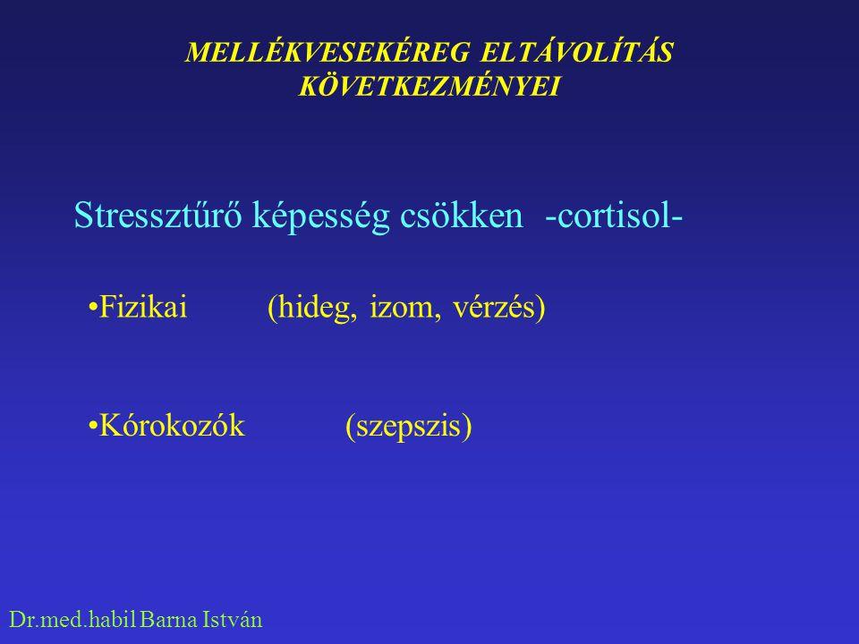Dr.med.habil Barna István CORTISOL HIÁNY TÜNETEI Gastrointestinalis Mentalis Anyagcsere Keringés Hypophysis Stressz tolerancia csökken