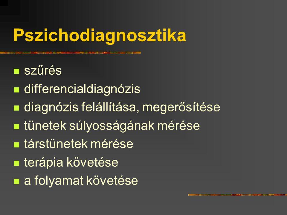 Pszichodiagnosztika szűrés differencialdiagnózis diagnózis felállítása, megerősítése tünetek súlyosságának mérése társtünetek mérése terápia követése a folyamat követése