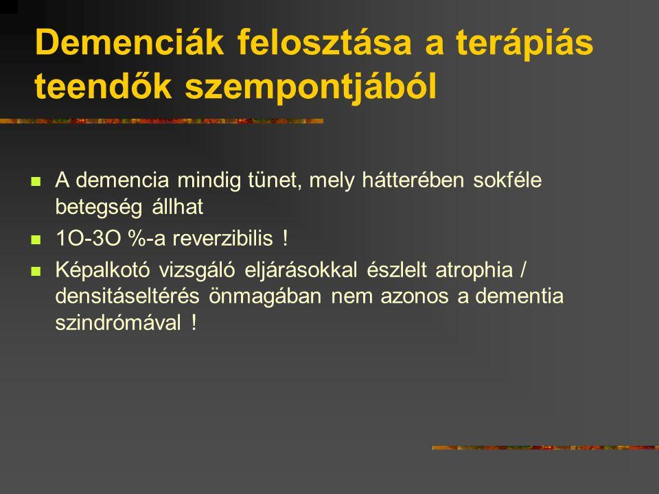 Differenciáldiagnosztikai kérdések feledékenység organikus nem organikus nem demencia demencia pszeudodemenciaAAMI amnesztikus zavar izolált agyi károsodás enyhe kognitív zavar primer neurodegeneratív szekunder VD egyéb AD nemAD kevert