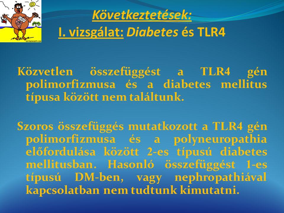 Következtetések: I. vizsgálat: Diabetes és TLR4 Közvetlen összefüggést a TLR4 gén polimorfizmusa és a diabetes mellitus típusa között nem találtunk. S