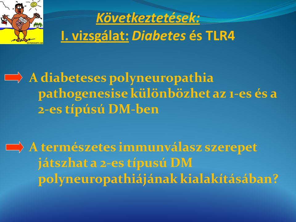 Következtetések: I. vizsgálat: Diabetes és TLR4 A diabeteses polyneuropathia pathogenesise különbözhet az 1-es és a 2-es típúsú DM-ben A természetes i