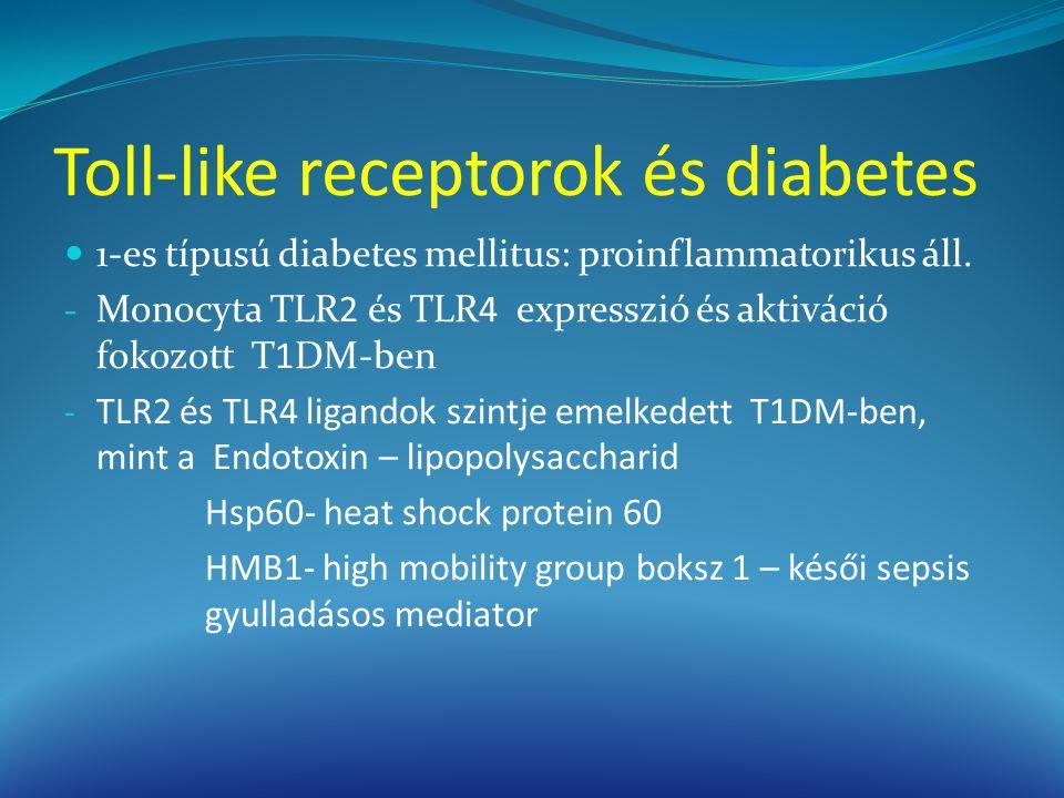 Toll-like receptorok és diabetes 1-es típusú diabetes mellitus: proinflammatorikus áll. - Monocyta TLR2 és TLR4 expresszió és aktiváció fokozott T1DM-