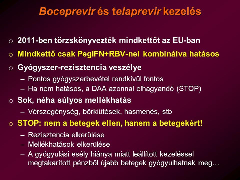 Boceprevir és telaprevir kezelés o 2011-ben törzskönyvezték mindkettőt az EU-ban o Mindkettő csak PegIFN+RBV-nel kombinálva hatásos o Gyógyszer-rezisz