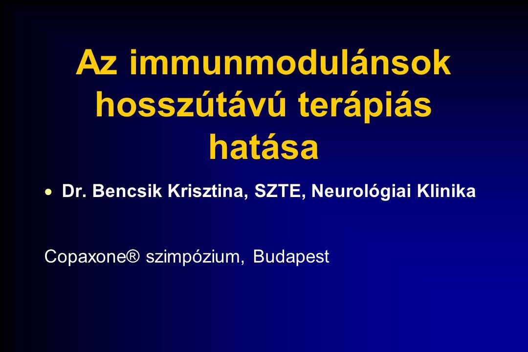 Az immunmodulánsok hosszútávú terápiás hatása  Dr. Bencsik Krisztina, SZTE, Neurológiai Klinika Copaxone® szimpózium, Budapest