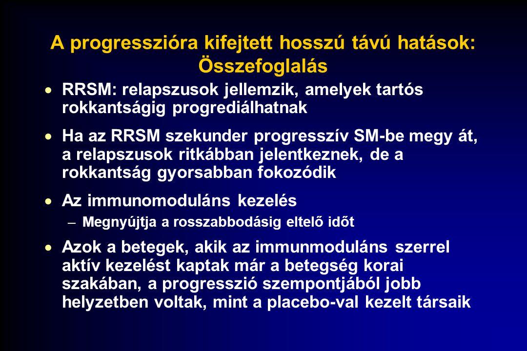 A progresszióra kifejtett hosszú távú hatások: Összefoglalás  RRSM: relapszusok jellemzik, amelyek tartós rokkantságig progrediálhatnak  Ha az RRSM