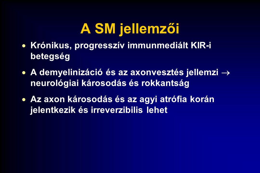 A SM jellemzői  Krónikus, progresszív immunmediált KIR-i betegség  A demyelinizáció és az axonvesztés jellemzi  neurológiai károsodás és rokkantság
