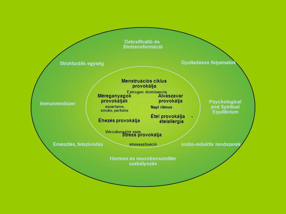 Psychological and Spiritual Equilibrium Hormon és neurotranszmitter szabályozás Detoxificatió és Biotransformáció Strukturális egység Immunrendszer Emésztés, felszívódás oxido-reduktív rendszerek Gyulladásos folyamatok Napi ritmus stressszituáció Étel provokálja - ételallergia Menstruációs ciklus provokálja Stress provokálja Méreganyagok provokálják aspartame, smoke, perfume Alvászavar provokálja Éhezés provokálja Estrogen dominancia Napi ritmus Vércukorszint esés