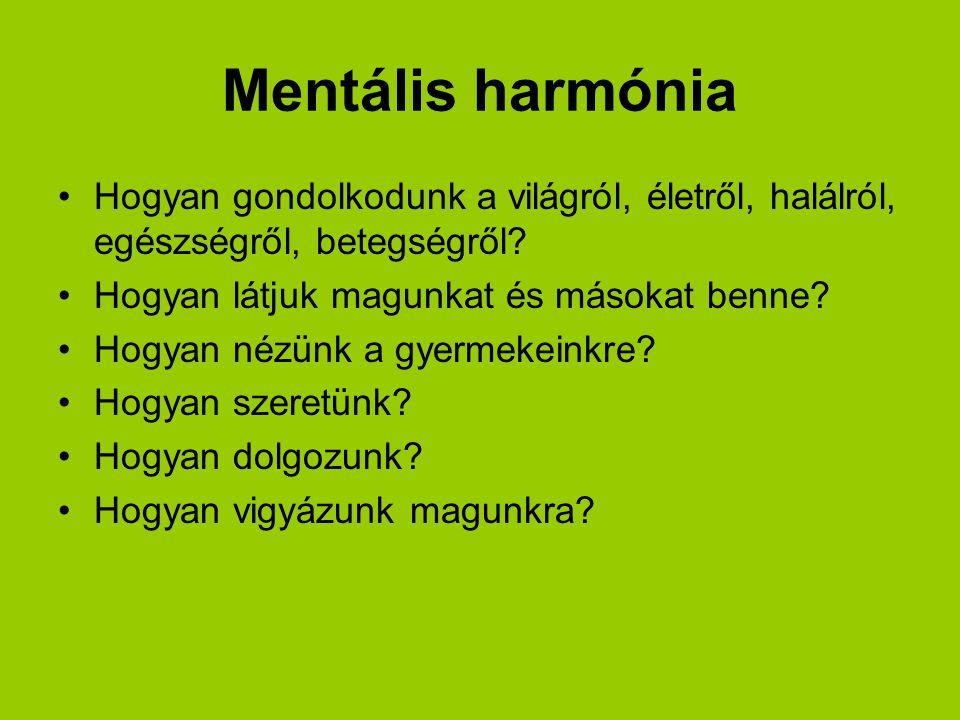 Mentális harmónia Hogyan gondolkodunk a világról, életről, halálról, egészségről, betegségről.