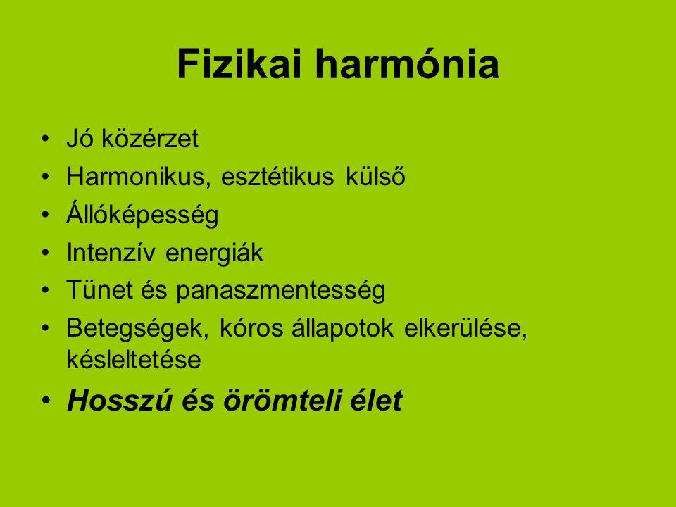 Fizikai harmónia Jó közérzet Harmonikus, esztétikus külső Állóképesség Intenzív energiák Tünet és panaszmentesség Betegségek, kóros állapotok elkerülése, késleltetése Hosszú és örömteli élet