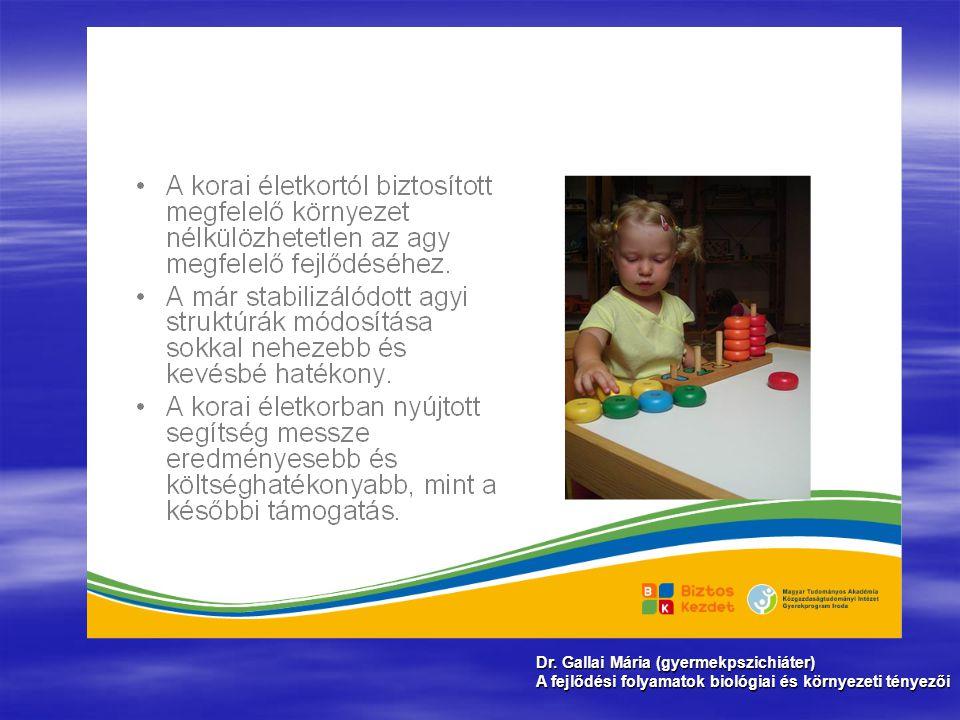 Dr. Gallai Mária (gyermekpszichiáter) A fejlődési folyamatok biológiai és környezeti tényezői