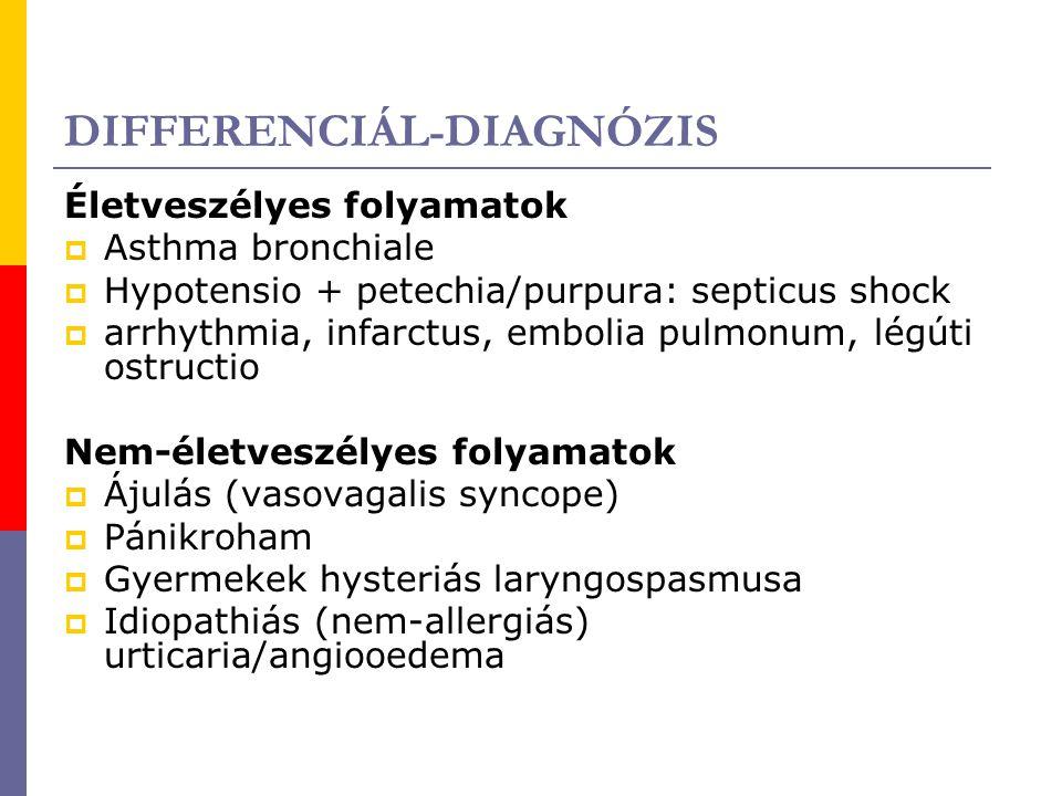 DIFFERENCIÁL-DIAGNÓZIS Életveszélyes folyamatok  Asthma bronchiale  Hypotensio + petechia/purpura: septicus shock  arrhythmia, infarctus, embolia p
