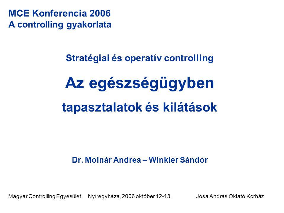 Magyar Controlling Egyesület Nyíregyháza, 2006 október 12-13.Jósa András Oktató Kórház MCE Konferencia 2006 A controlling gyakorlata Stratégiai és ope