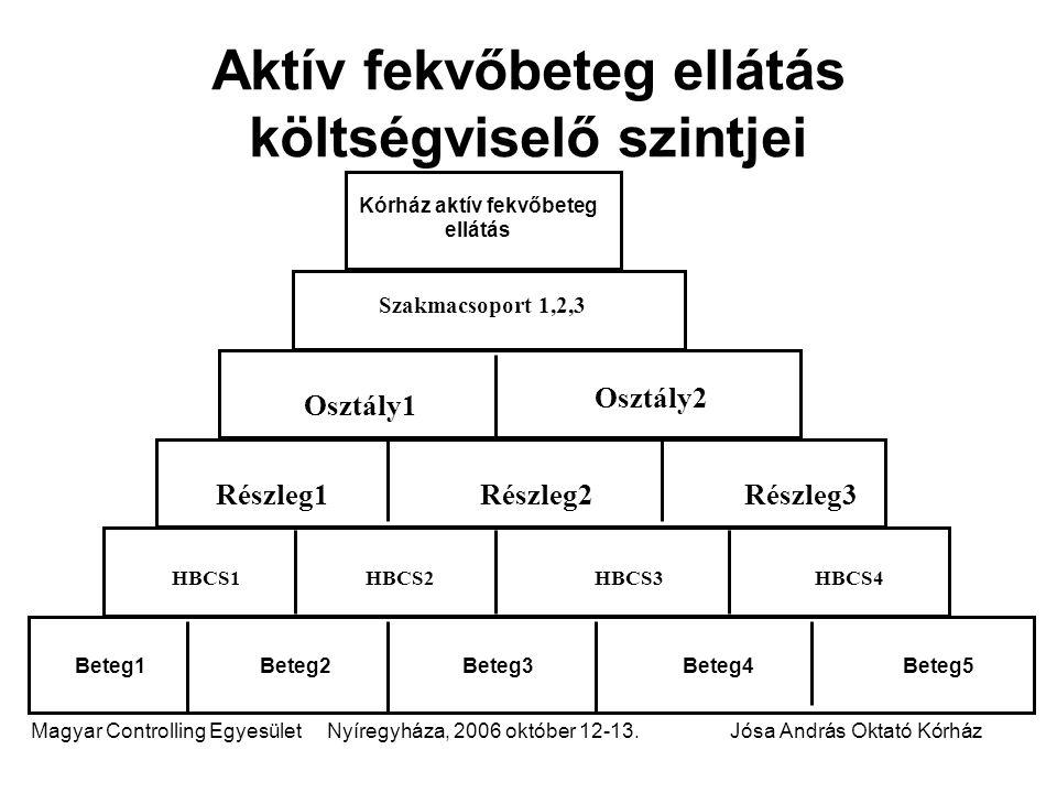 Magyar Controlling Egyesület Nyíregyháza, 2006 október 12-13.Jósa András Oktató Kórház Aktív fekvőbeteg ellátás költségviselő szintjei Kórház aktív fe