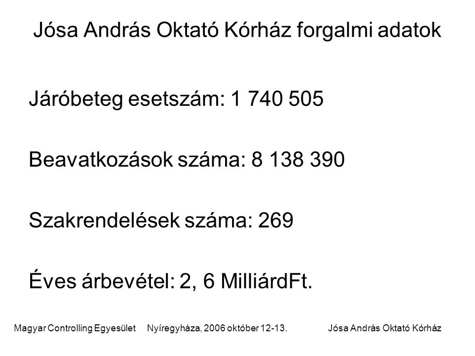 Magyar Controlling Egyesület Nyíregyháza, 2006 október 12-13.Jósa András Oktató Kórház Éves árbevétel: 14,5 MilliárdFt.
