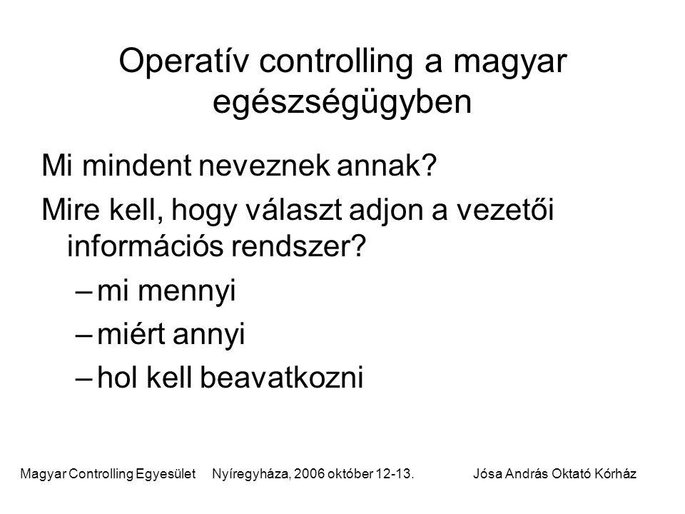 Magyar Controlling Egyesület Nyíregyháza, 2006 október 12-13.Jósa András Oktató Kórház Operatív controlling a magyar egészségügyben Mi mindent nevezne
