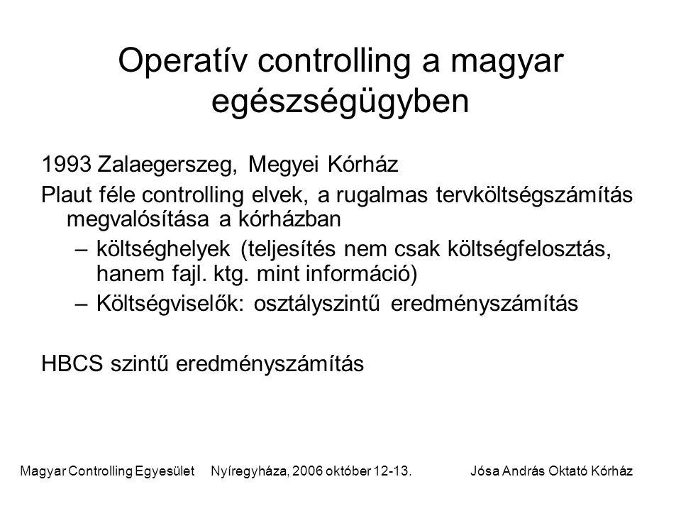 Magyar Controlling Egyesület Nyíregyháza, 2006 október 12-13.Jósa András Oktató Kórház Operatív controlling a magyar egészségügyben 1993 Zalaegerszeg,