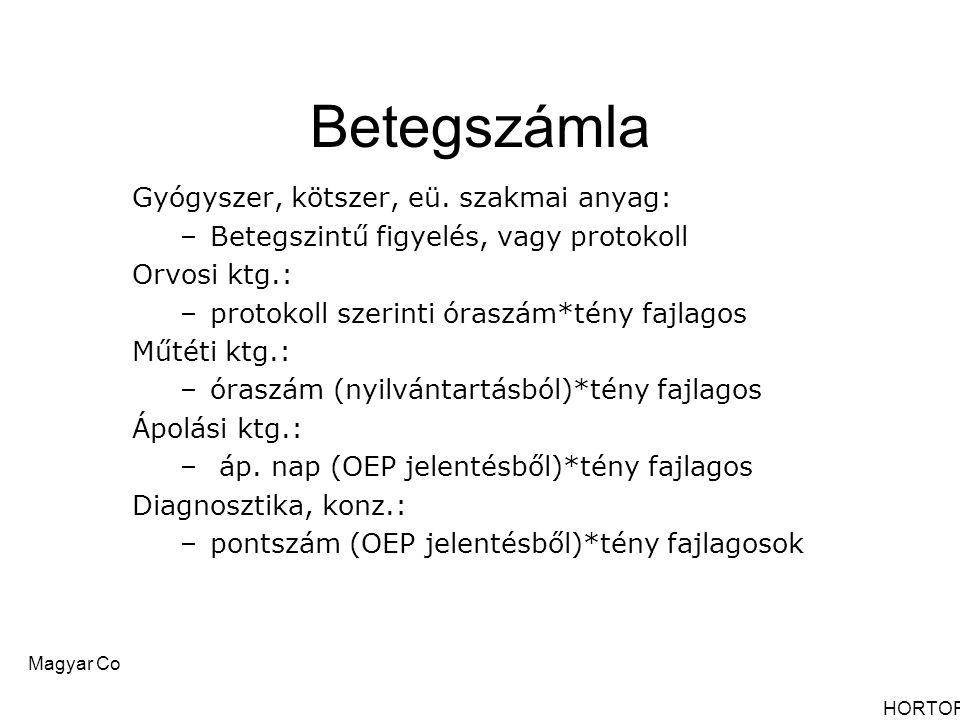 Magyar Controlling Egyesület Nyíregyháza, 2006 október 12-13.Jósa András Oktató Kórház Betegszámla Gyógyszer, kötszer, eü. szakmai anyag: –Betegszintű