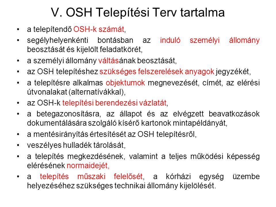 V. OSH Telepítési Terv tartalma a telepítendő OSH-k számát, segélyhelyenkénti bontásban az induló személyi állomány beosztását és kijelölt feladatköré