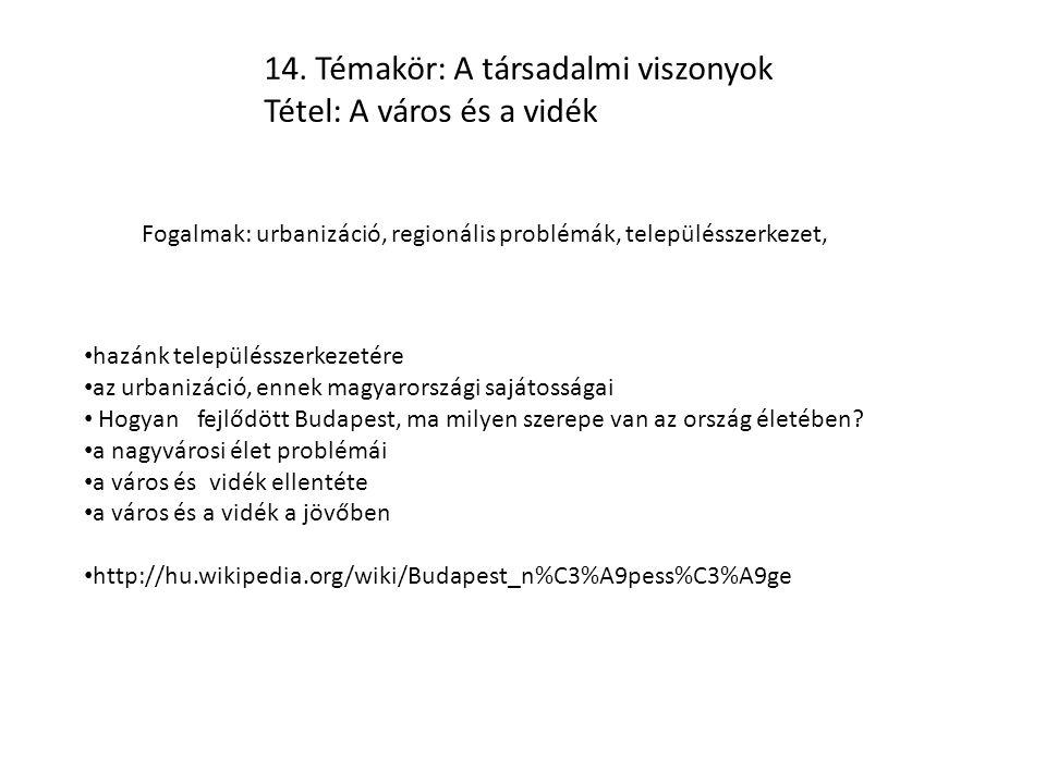 Feladat: A Magyar Tudományos Akadémia 2005-ös felhívása alapján fogalmazza meg, milyen a kapcsolat a város és a vidék között.