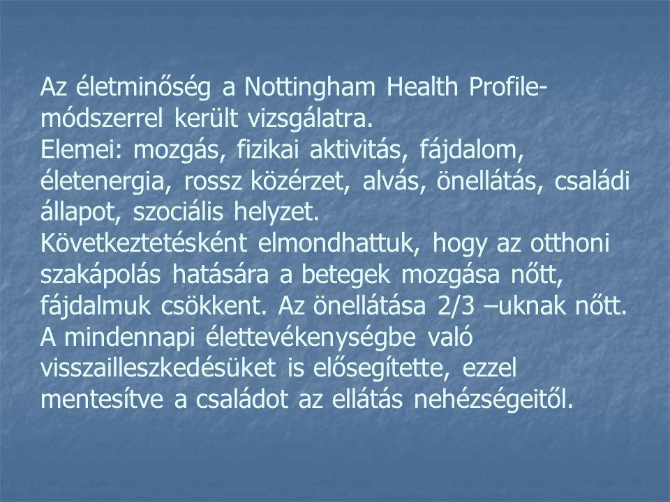 Az életminőség a Nottingham Health Profile- módszerrel került vizsgálatra. Elemei: mozgás, fizikai aktivitás, fájdalom, életenergia, rossz közérzet, a