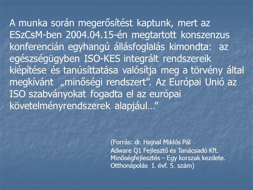 A munka során megerősítést kaptunk, mert az ESzCsM-ben 2004.04.15-én megtartott konszenzus konferencián egyhangú állásfoglalás kimondta: az egészségüg