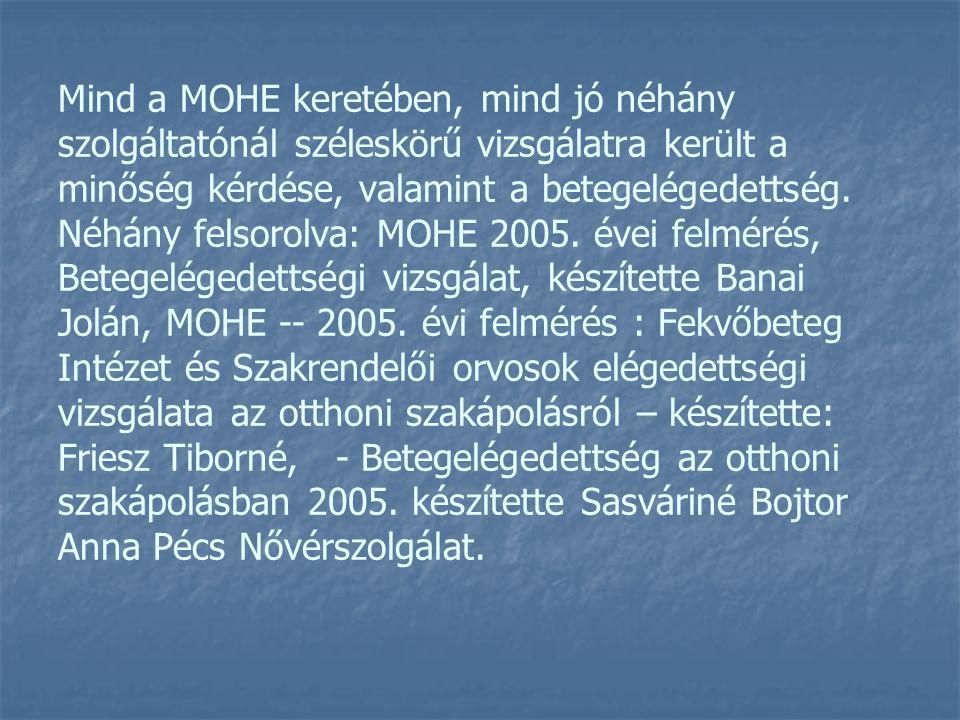Mind a MOHE keretében, mind jó néhány szolgáltatónál széleskörű vizsgálatra került a minőség kérdése, valamint a betegelégedettség. Néhány felsorolva: