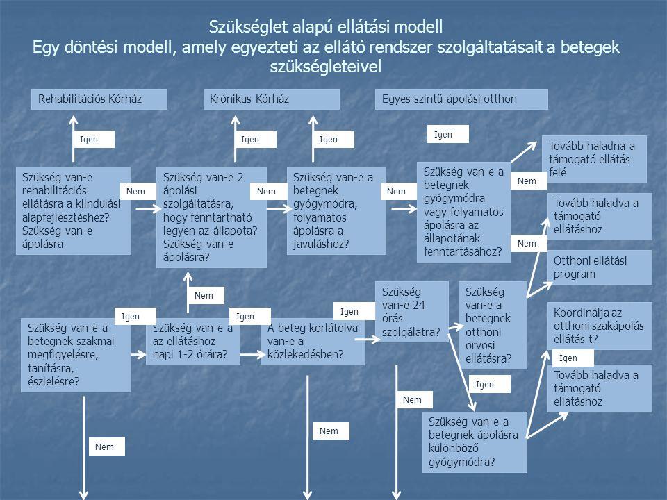 Szükséglet alapú ellátási modell Egy döntési modell, amely egyezteti az ellátó rendszer szolgáltatásait a betegek szükségleteivel Rehabilitációs Kórhá