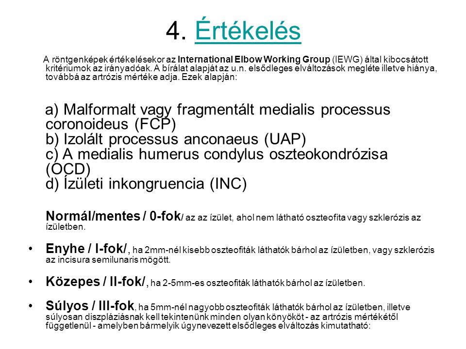 4. Értékelés A röntgenképek értékelésekor az International Elbow Working Group (IEWG) által kibocsátott kritériumok az irányadóak. A bírálat alapját a