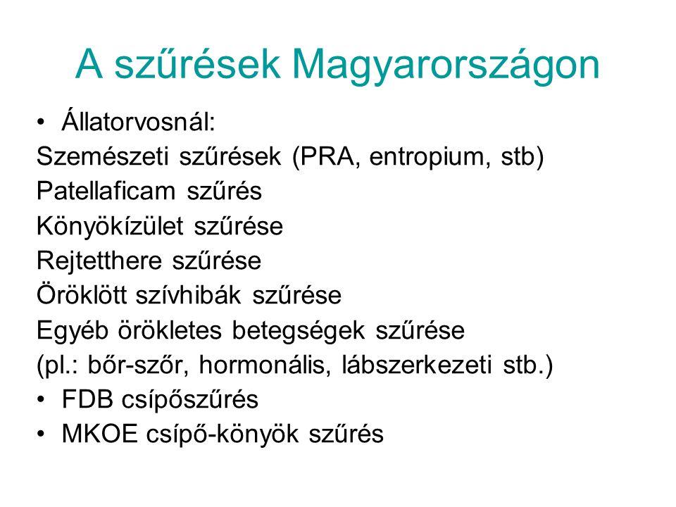 A szűrések Magyarországon Állatorvosnál: Szemészeti szűrések (PRA, entropium, stb) Patellaficam szűrés Könyökízület szűrése Rejtetthere szűrése Öröklö