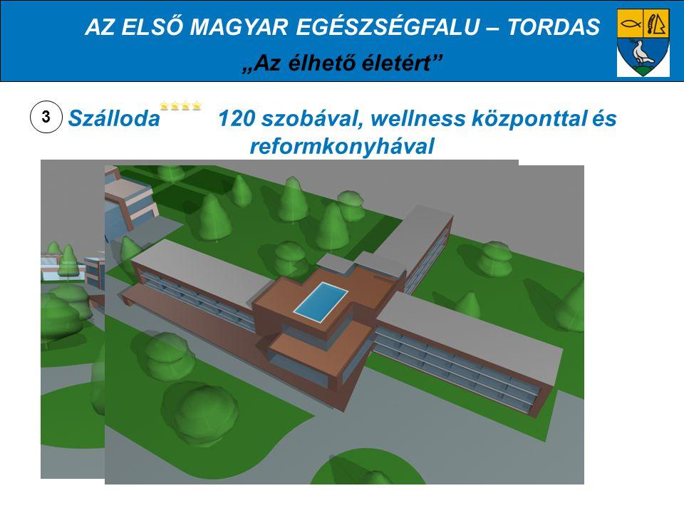 """AZ ELSŐ MAGYAR EGÉSZSÉGFALU – TORDAS """"Az élhető életért TOVÁBBI FUNKCIÓK AZ EGÉSZSÉGMEGŐRZŐ MINTAKÖZPONTBAN: Biokertészet, biopiac """"Egészségliget vásárló utcákkal, egészségmegőrző termékekkel Teniszpályák 25m-es fedett uszoda (Termálvíz?!) Kulturközpont"""