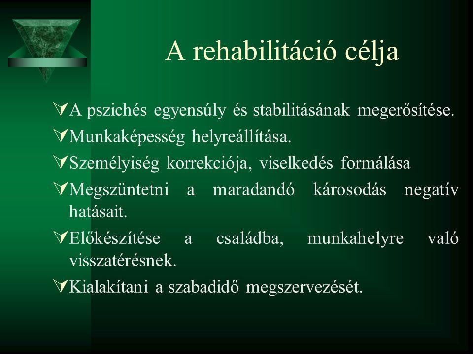 A rehabilitáció célja  A pszichés egyensúly és stabilitásának megerősítése.  Munkaképesség helyreállítása.  Személyiség korrekciója, viselkedés for