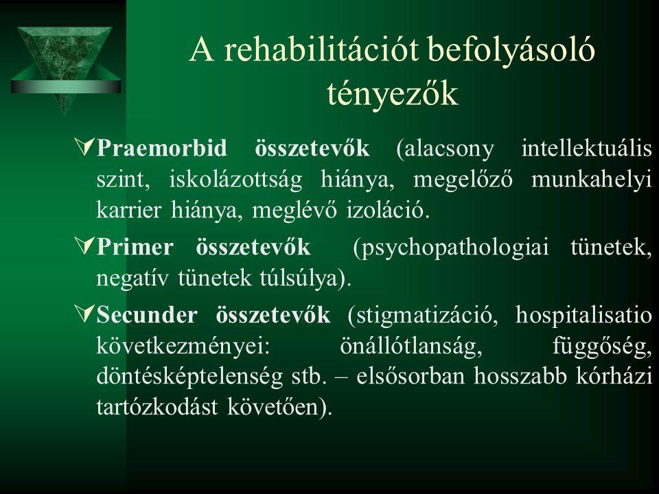 A rehabilitációt befolyásoló tényezők  Praemorbid összetevők (alacsony intellektuális szint, iskolázottság hiánya, megelőző munkahelyi karrier hiánya