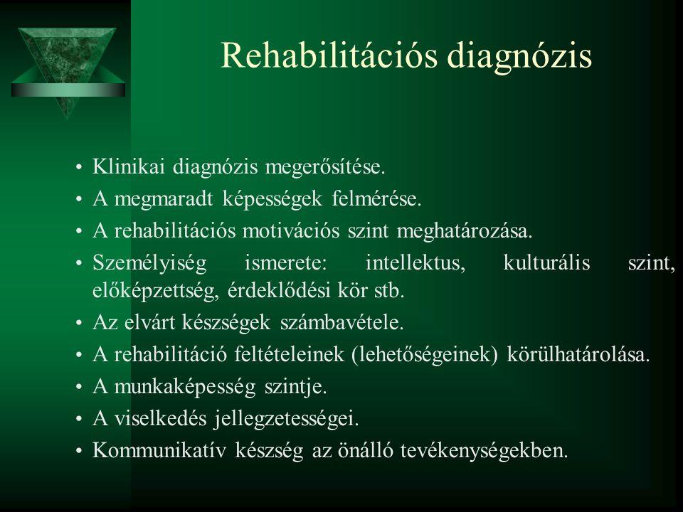 Rehabilitációs diagnózis Klinikai diagnózis megerősítése. A megmaradt képességek felmérése. A rehabilitációs motivációs szint meghatározása. Személyis